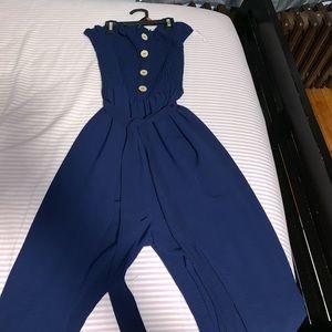 Flare Navy Fashion Nova Strapless Jumpsuit